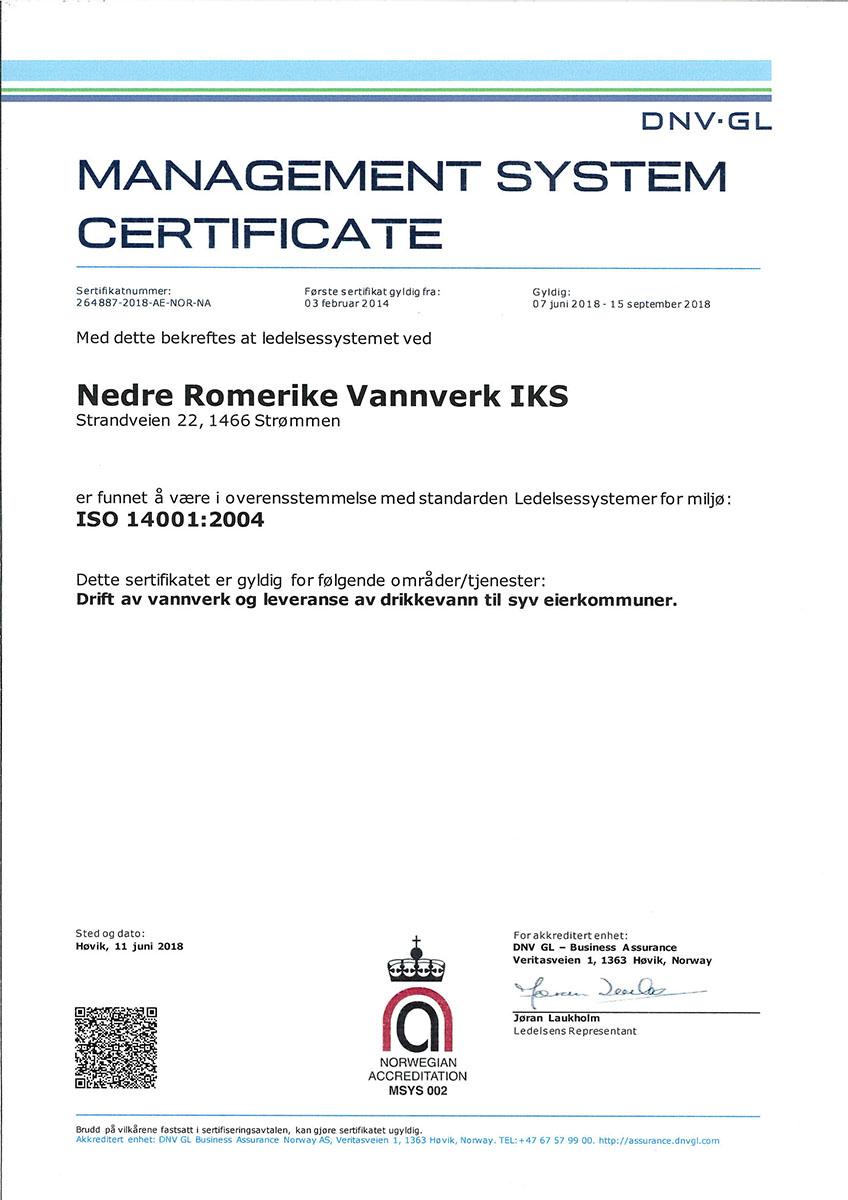 bcc9ce2e NRV IKS Sertifikat ISO 14001:2004